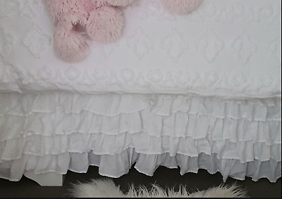 Shabby Vintage White Chic Ruffles Tier Flamenco Queen Valance Bed Skirt 6 Layers