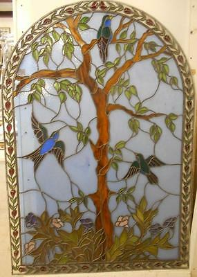 "OLD ENGLISH LEADED STAINED GLASS WINDOW The Tree Of Life 47.75"" x 68.5"""