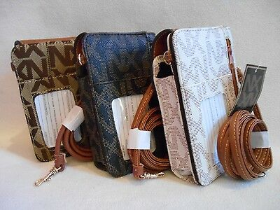ID WINDOW on OUTSIDE BIFOLD & CELL PHONE POCKET Wallet  WRISTLET REMOVABLE STRAP