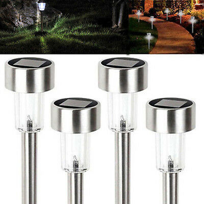 Outdoor Stainless Steel Solar Light Lamp Landscape Led Lawn Garden Path ~ 4 Pack
