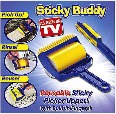 New Reusable Sticky Buddy Carpet Clothes Lint Fur Remover Cleaner Roller Brush