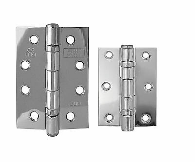 Door Hinges Polished Chrome 76mm 100mm Ball Bearing Butt Hinge Grade 7 11