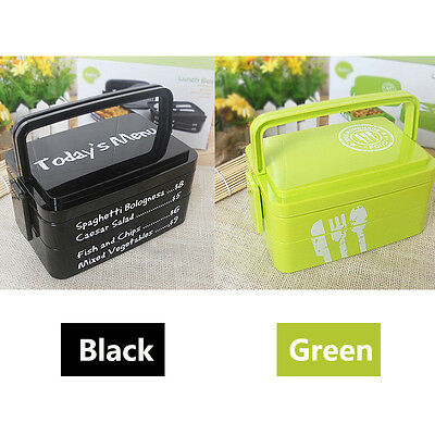 Hot Thermal Insulated Bento Stainless Plastic Food Container Lunch Box 3 Layer