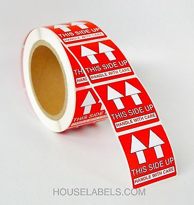 """2 Rolls  ; 500 Labels 2x2 (2"""" x 2"""") Pre-Printed This Side Up Labels/Stickers"""