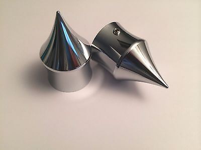 00-07 HARLEY FRONT AXLE NUT COVERS BFD CHROME SPIKES 100/% MADE IN AMERICA