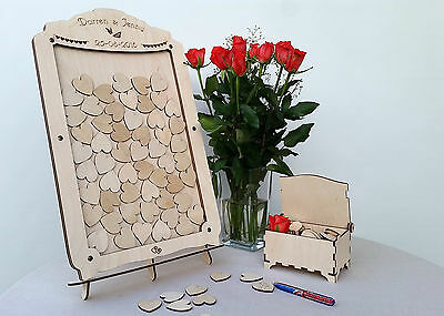Personalised Wedding Guest Book Drop Box Frame, Hearts, Stand and keepsake Chest