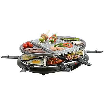 VonShef 8 Person Raclette Grill Indoor BBQ with Natural Stone Plate