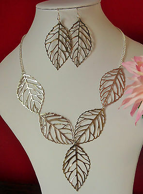"""leaf  necklace set STATEMENT silver bronze earrings 18""""  leaves FILIGREE chain"""