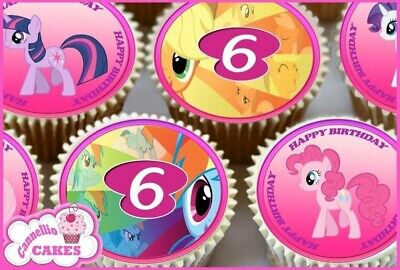 Edible Icing Sheet - 24 X My Little Pony 6Th Happy Birthday Cupcake Toppers 8745