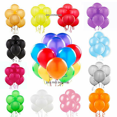 100 METALLIC/Pearlised Quality LATEX BALLOONS Decoration Birthday Baloon Party