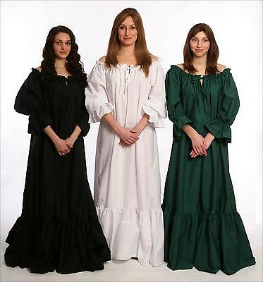 RENAISSANCE COSTUME DRESS MEDIEVAL GOWN WENCH CIVIL WAR PIRATE BLACK CHEMISE Cd1