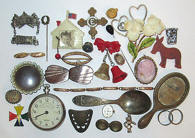 VINTAGE JUNK DRAWER LOT (30) + PIECES JEWELRY WATCH plastic PINS, RESALE ITEMS
