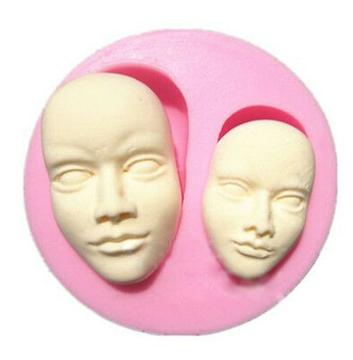 Face Silicone Mold For Fimo Resin Polymer Clay Fondant Cake Chocolate