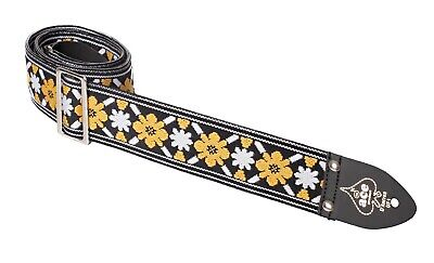 Ace Guitar Strap  Vintage Style  Yellow and White Flowers Lennon