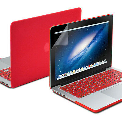 Red Hard Case Keyboard Cover Screen Protector for 13 Retina MacBook Pro