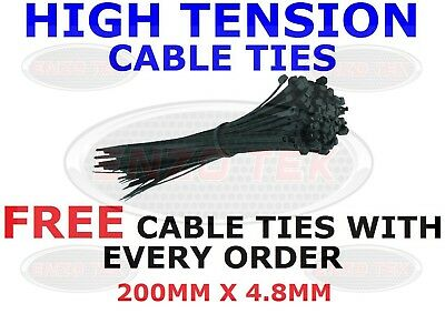 STRONG BLACK CABLE TIES TIE WRAPS ZIP TIES TIDIES 200mm x 4.8mm HIGH QUALITY