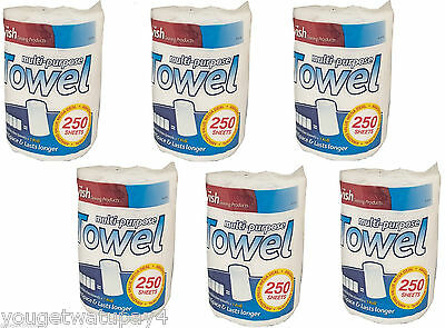 6 PACK JUMBO Hand Kitchen Towels White Paper Tissue Rolls Cleaning Wipe