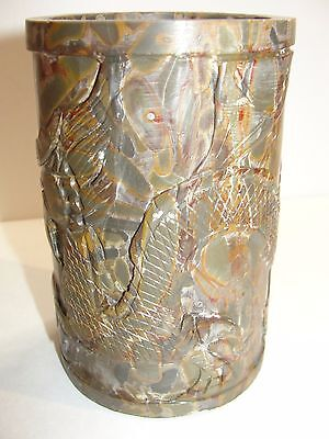 Old Rare Chinese Scholar Fossilized Agate Carved Dragon Brush Washer Pot