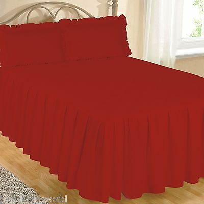 Red Fitted Bedspread Set Pillow Shams Quilted Egyptian Cotton 200 Count Scarlet