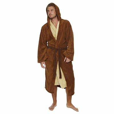 Official Star Wars Jedi Outfit Brown/Cream Adult Fleece Dressing Gown Bathrobe