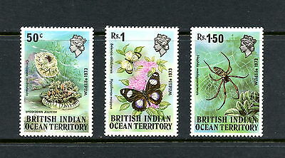 B.I.O.T.  1973  #54-6  fish butterflies insects  3v.  MNH  H249