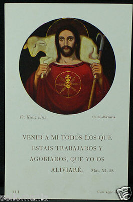 Old Blessed Jesus Christ And Sheep Holy Card 1957 Andachtsbild Santini     Cc878