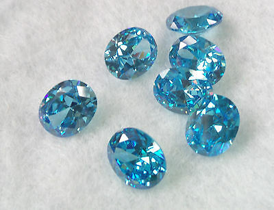 Aquamarine Cubic Zirconia 10 x 8mm Oval Cut Loose Gemstone AAAAA lot of 2 stones
