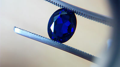 Oval Cut 9 x 7 mm Dark blue Lab Created Sapphire Loose Gemstone