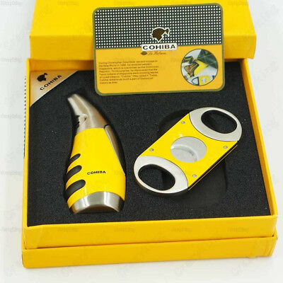COHIBA Yellow & Silver Metal Torch Jet Flame Cigar Lighter With Cutter Gift Set