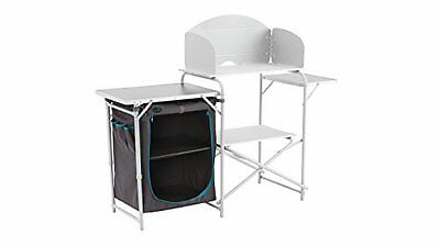 Easy camp sarin camping kitchen table with 2 side & roll-up top, grey/silver