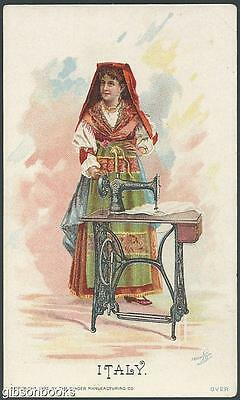 Victorian Trade Card for Singer Sewing Machine with Lovely Italian Lady