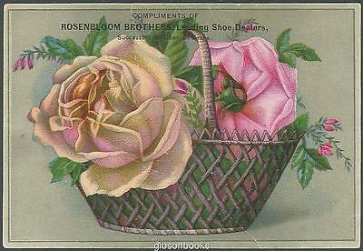 Victorian Trade Card for S. Rosenbloom and Sons Shoes with Basket of Roses