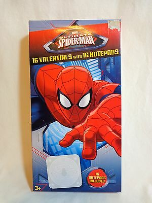 Ultimate Spiderman Valentines Classroom Cards 16 with Notepads Marvel 2012 New