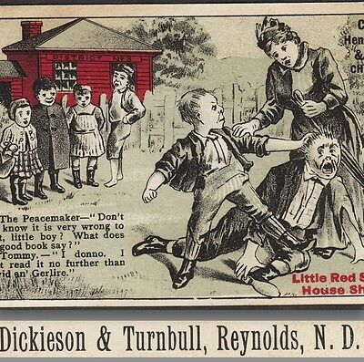 Reynlds ND Henderson Red School House Shoe David Goliath Bible Advertising Card