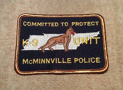 TN McMinnville Tennessee K-9 Unit Police Patch