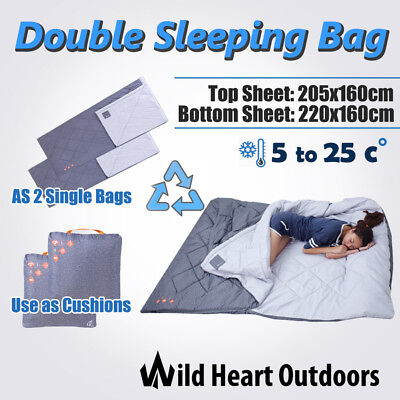 Double Sleeping Bag Outdoor Camping Thermal Hiking  220x160cm summer 5-25