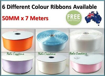 Satin Ribbon White Ivory Pink Blue Lilac, Decorate Wedding Car 50mm x 7m Flat Pk