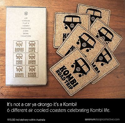 VW Kombi drink coasters - laser engraved cork. Australian crafted! UNBOXED