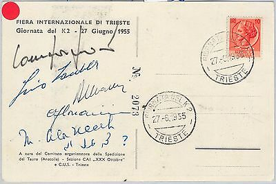 56491 -  MOUNTAINEERING  - ITALY -  POSTCARD SIGNED by IMPORTANT SPORTSMEN 1955