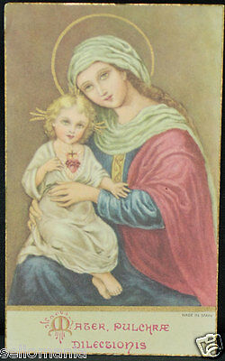 Old Blessed Sacred Heart Jesus Virgin Mary Holy Card Andachtsbild Santini  Cc892