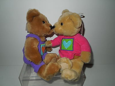 NWT Hallmark Kiss Kiss Plush Bears - Hearts in Squares