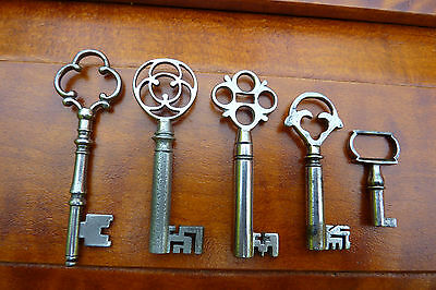 Five Antique Keys with Fancy Bows & Bits from England & France