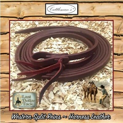 Western Split Reins Durable Braided Brown Nylon 8Ft With Rawhide+Leather Poppers