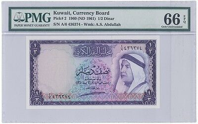 KUWAIT Half Dinar First Issue Pick 2 dated 1960 GEM UNC PMG 66 EPQ
