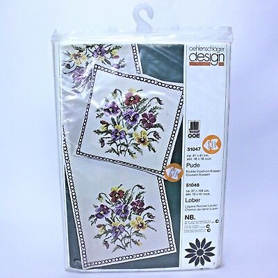 PANSIES Cushion | Cross Stitch Embroidery Nostra Zephyr Kit | Oehlenschlager OOE