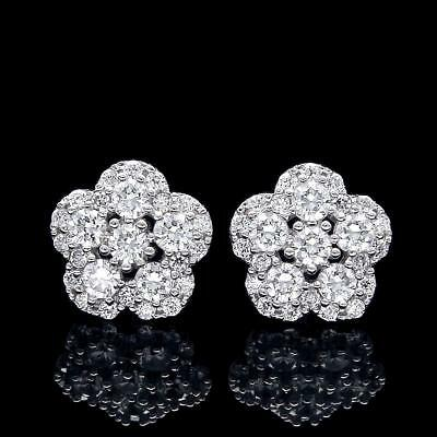 1Ct. Created Diamond Halo Pave Flower Earrings 14k White Gold Studs Screw-Back