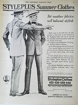 1919 Styleplus Summer Mens Clothes Vintage Clothing Fashion Ad