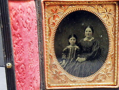 1/6 Plate Fine Clear Ambrotype of a mother and daughter