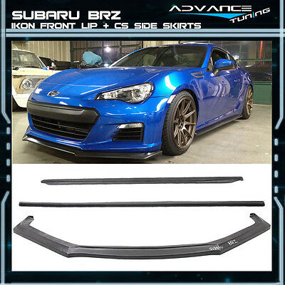 Fit For 13-16 Subaru BRZ Ikon PU Front Bumper Lip + CS Style Side Skirts Kit