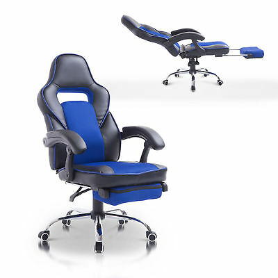 HOMCOM Race Car Style Recliner Adjustable Swivel Office Chair w/ Footrest Blue